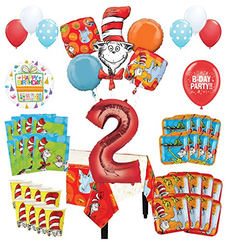 Mayflower Products Dr Seuss 2nd Birthday Party Supplies 8 Guest Decoration Kit and Balloon Bouquet (Dr Seuss Party Supplies 1st Birthday)