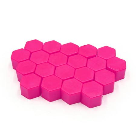 Pink Luminous (20 Pcs 17 x 19mm Pink Luminous Car Wheel Tyre Hub Screw Bolt Nut Cap Covers)