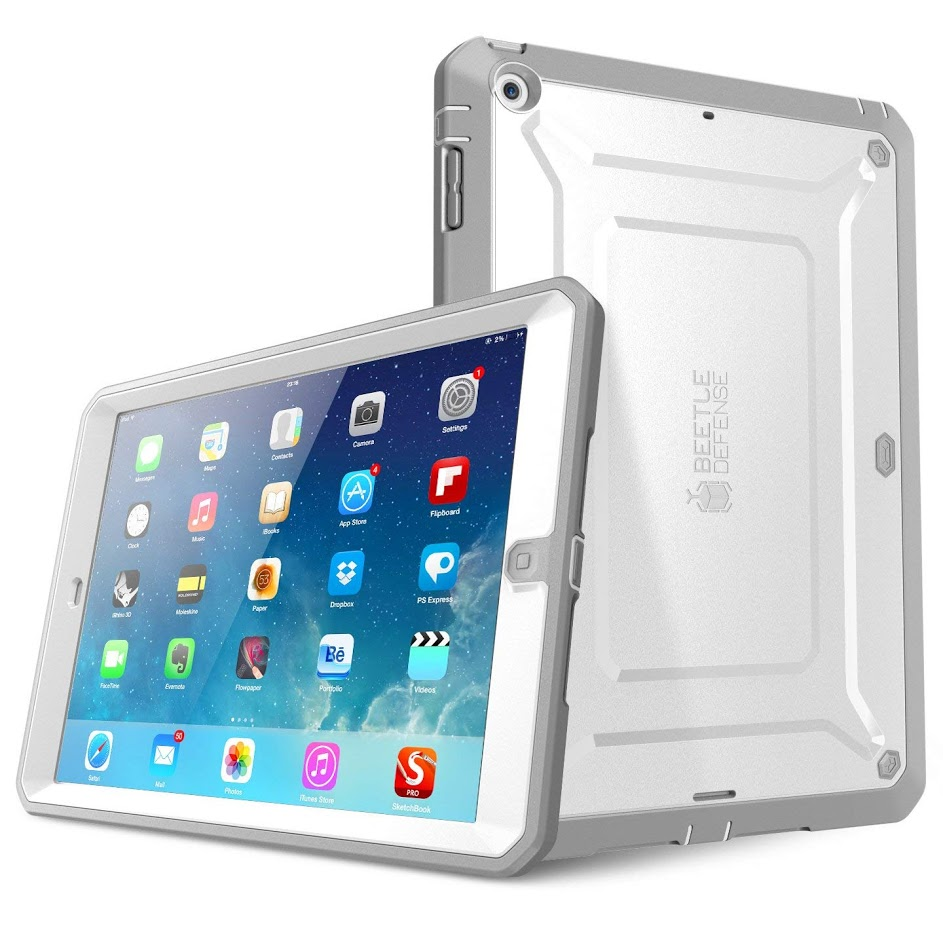 i-Blason Beetle Defense - Protective case for tablet - polycarbonate, thermoplastic polyurethane (TPU) - gray, white - for Apple iPad Air