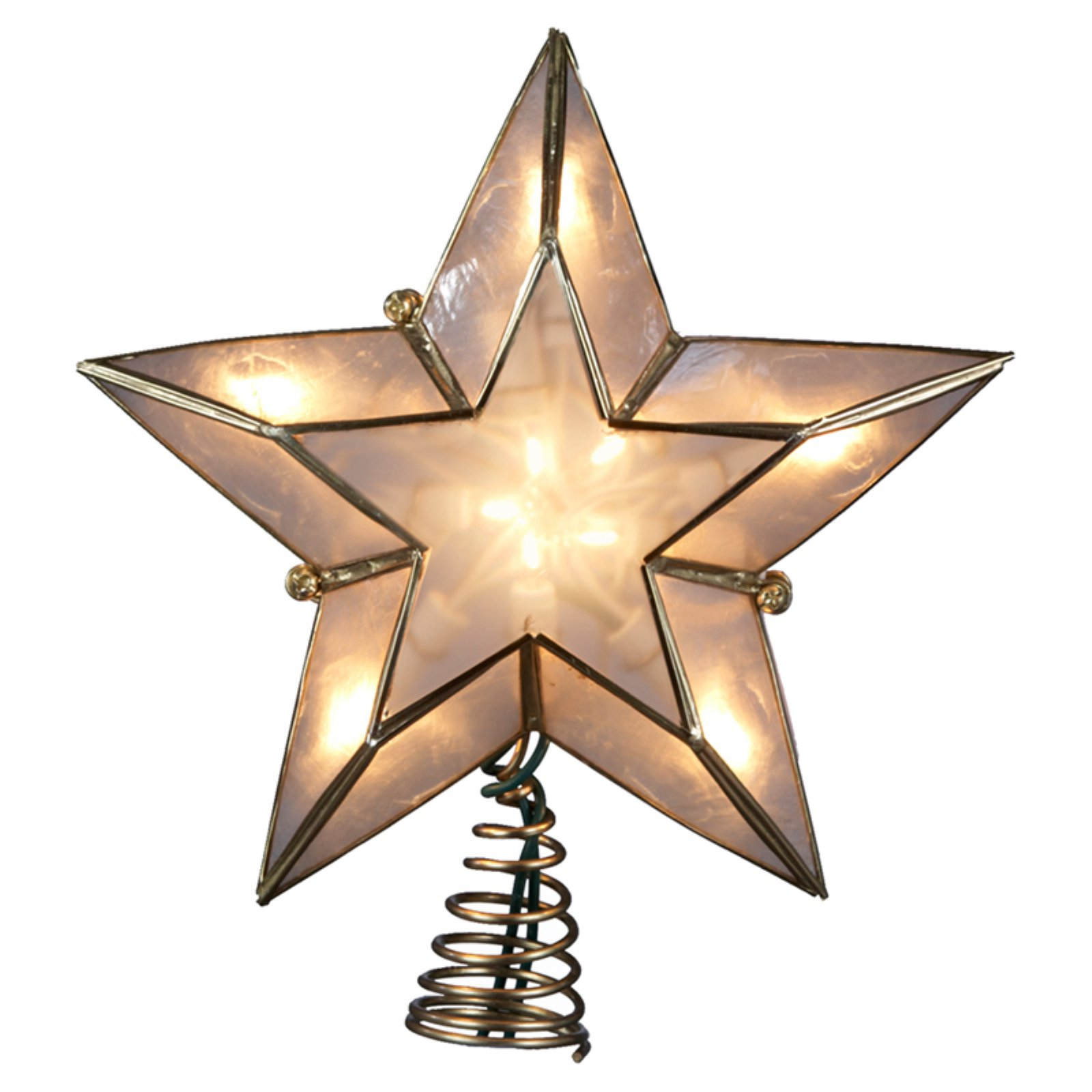 Kurt Adler 10-Light 5-Point Ivory and Gold Capiz Star Treetop