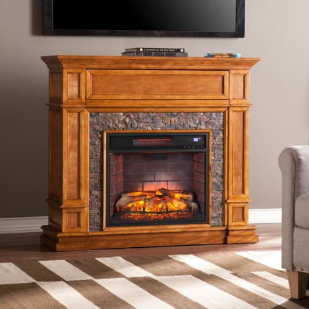 Mishal Faux Stone Infrared Media Fireplace, Sienna