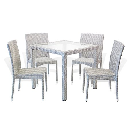 Patio Resin Outdoor Wicker Dining Set Square Table w/Glass and 4 Side Chair, Gray ()