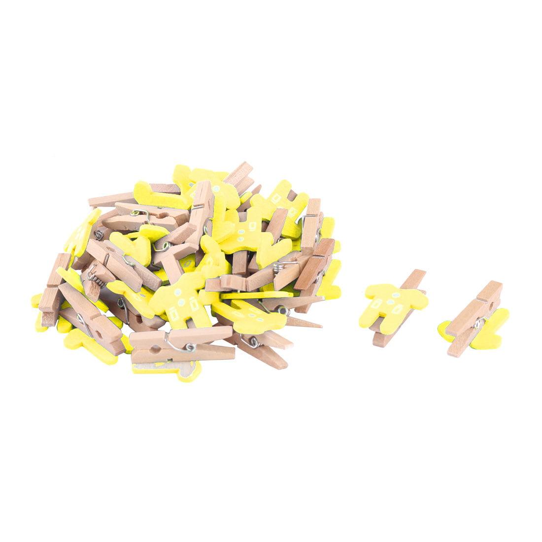 Hotel Wooden Clothes Shape DIY Handcraft Card Photo Decor Peg Clip Yellow 30pcs