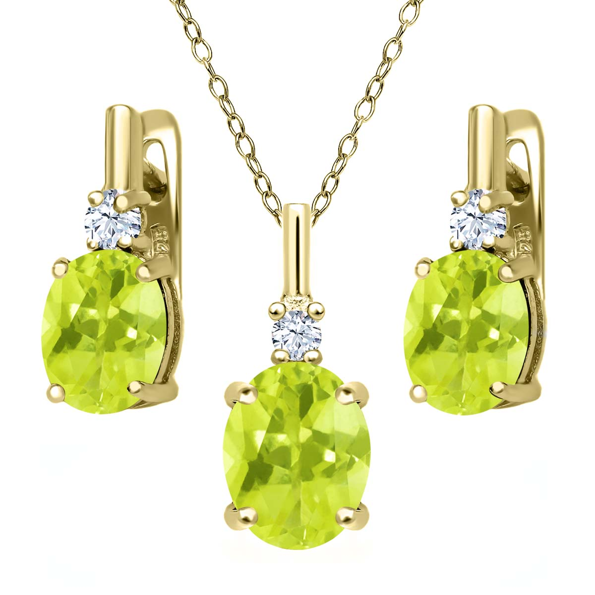 5.03 Ct Yellow Lemon Quartz White Topaz 18K Yellow Gold Plated Silver Pendant Earrings Set by