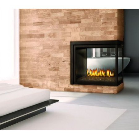 Peninsula Clean Face Fireplace With Logs Natural Gas