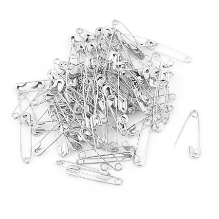 Tribe Silver 25mm (100 Pcs Metal Clothing Trimming Fastening  Pins 25mm x 5mm Silver Tone )