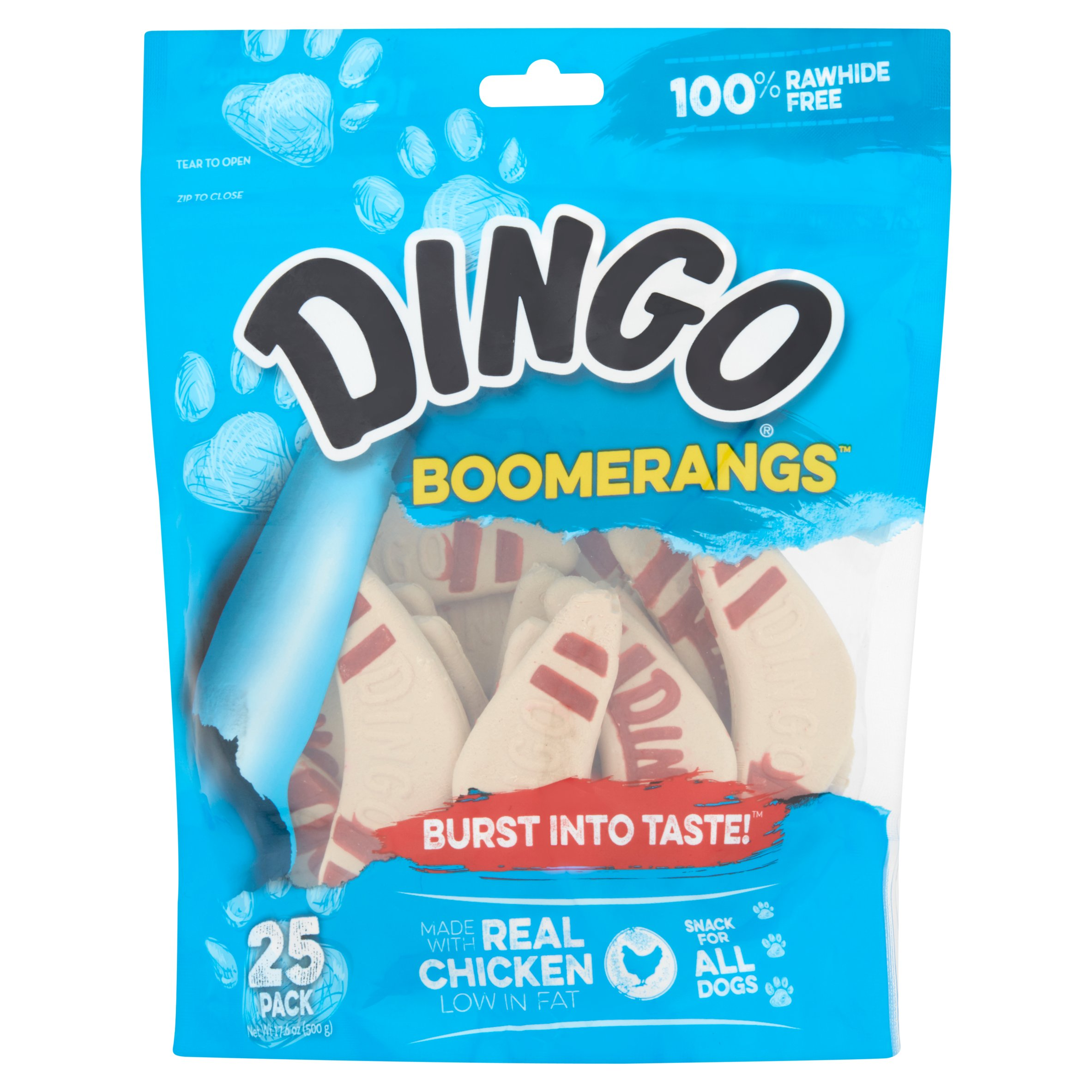 Dingo Boomerang Treats w/ Real Chicken, 100% Rawhide Free, 25-Count