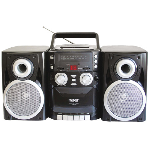 Naxa NPB426 Portable CD Player with AM/FM Radio, Cassette and Detachable Speakers
