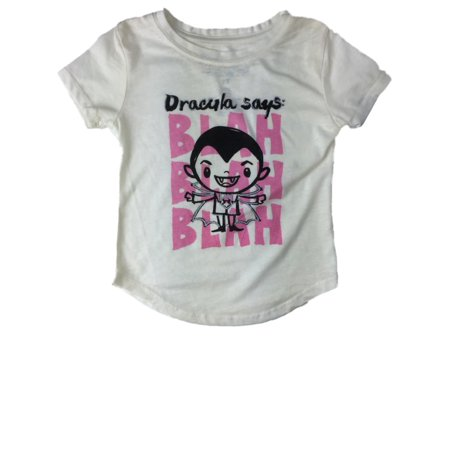 Infant Toddler Girls Count Dracula Says Blah Blah Blah Halloween Tee Shirt (Halloween Dracula Girl)