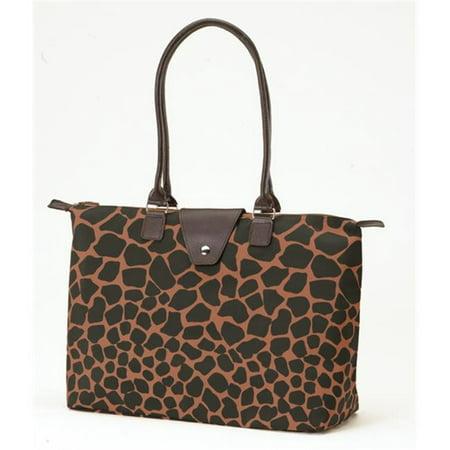 Joann Marrie Designs NF3BBG Long Handle Fold-Up Bag - Brown & Black Giraffe, Pack of 2
