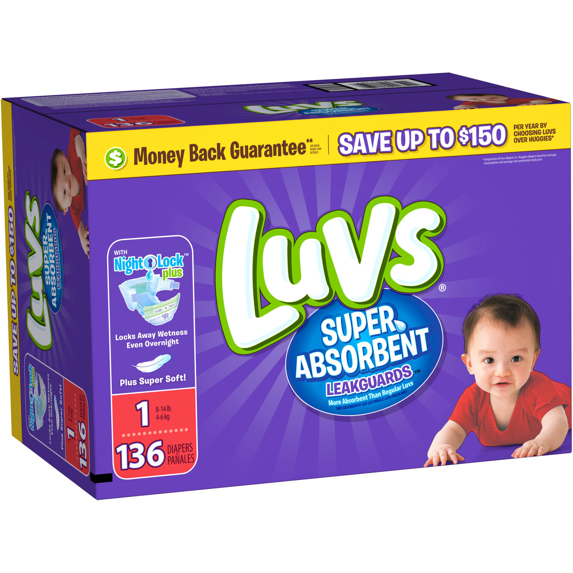 Luvs Leakguards Super Absorbent Diapers, Super Pack (Choose your Size)