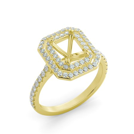 .85 ct Emerald Cut Diamond Double Halo Engagement Ring Semi Mount 18k Yellow Gold
