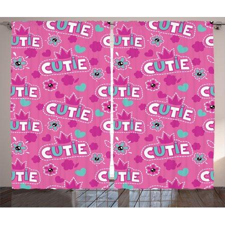 Teen Girls Decor Curtains 2 Panels Set, \