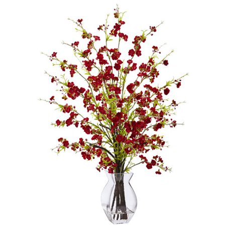 Nearly Natural Cherry Blossom Fl Arrangements In Decorative Vase