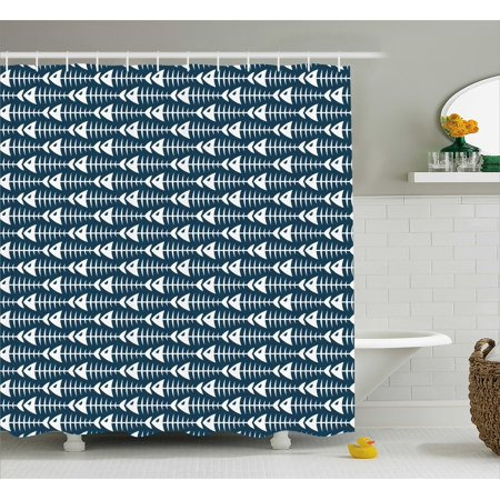 Animal Decor Shower Curtain  Fish Bone Skeleton Pattern With Spines Sea Underwater Theme Illustration  Fabric Bathroom Set With Hooks  69W X 84L Inches Extra Long  Dark Blue White  By Ambesonne