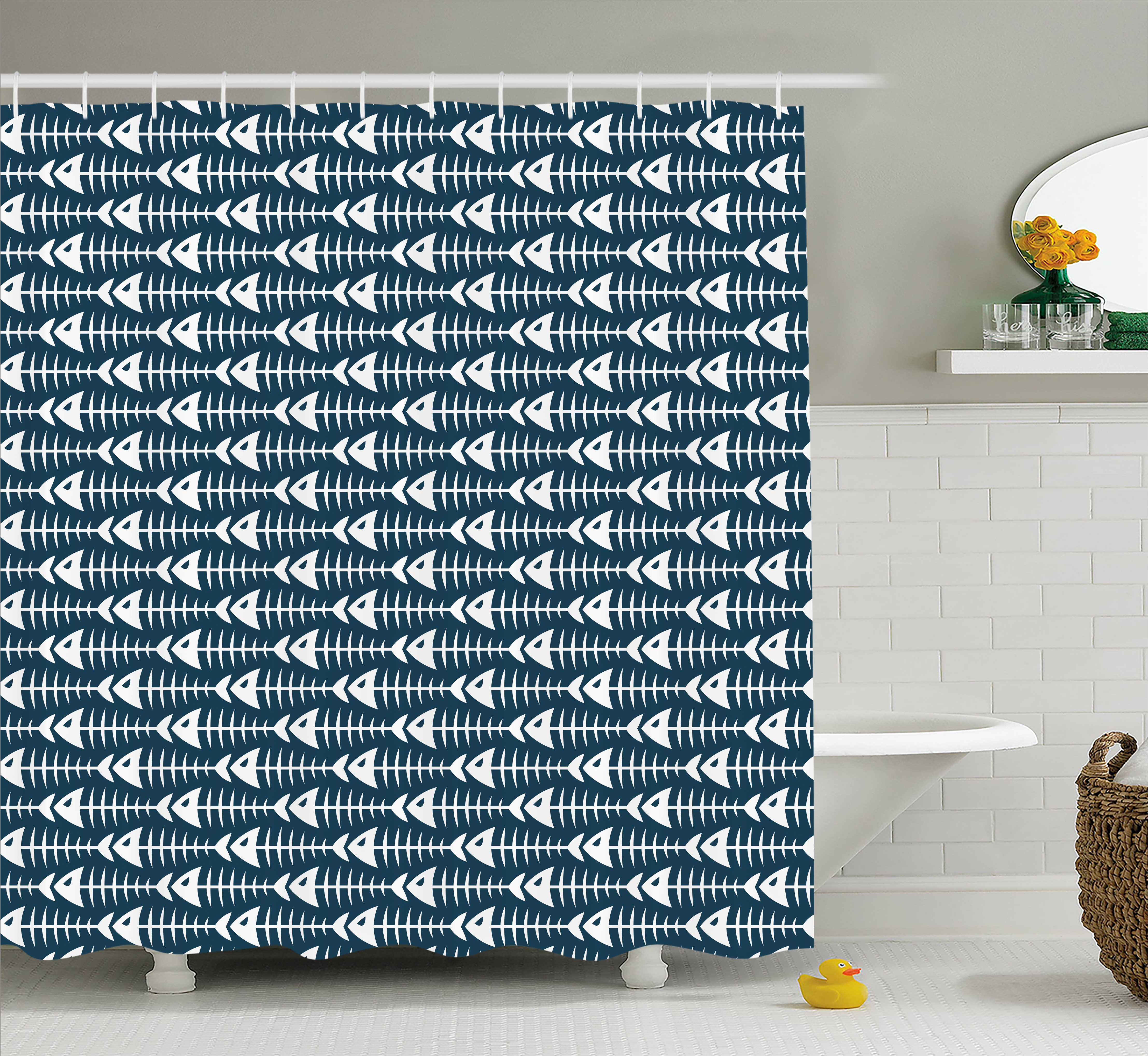 Animal Decor Shower Curtain, Fish Bone Skeleton Pattern with Spines Sea Underwater Theme Illustration, Fabric Bathroom Set with Hooks, 69W X 70L Inches, Dark Blue White, by Ambesonne