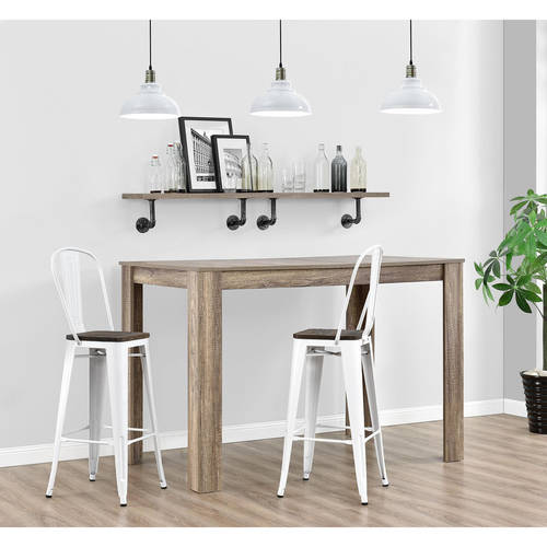 """Dorel Home Products Luxor 30"""" Metal Bar Stool with Wood Seat, Set of 2, Multiple Colors"""