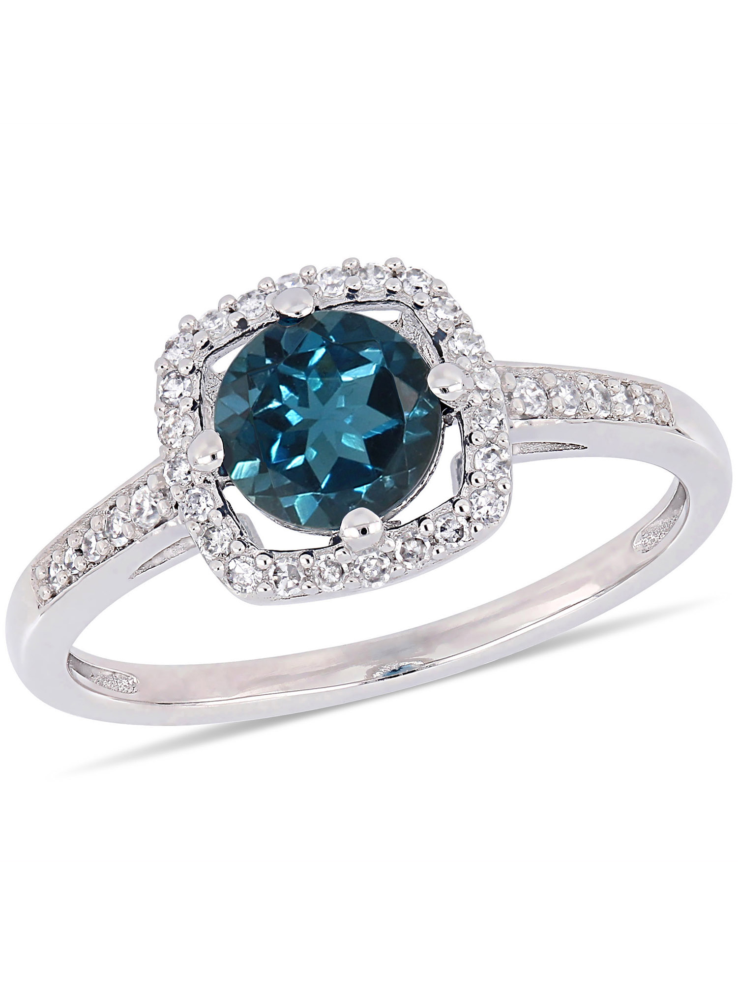 Tangelo 1 Carat T.G.W. London Blue Topaz and 1 7 Carat T.W. Diamond 10kt White Gold Halo Ring by Delmar