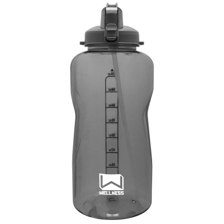 128oz Sports Water Bottle Grey w/Straw Lid, Portable Handle 1 gallon container