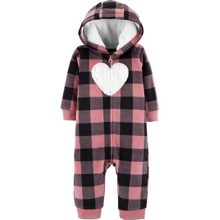 Carter's Baby Girls' Plaid Hooded Fleece Jumpsuit