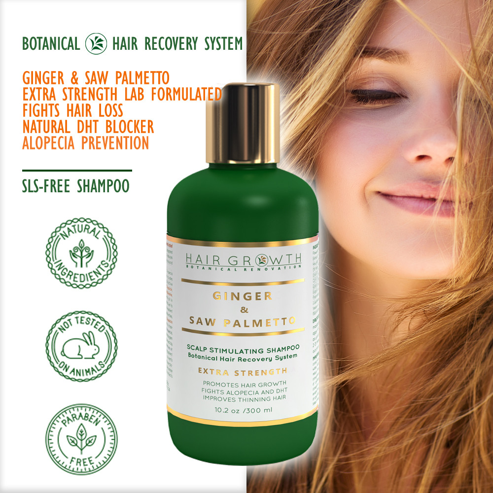 ginger and saw palmetto scalp stimulating shampoo for hair loss