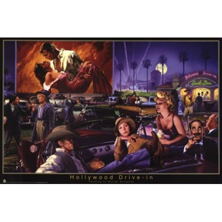 Hollywood Drive In   George Bungarda Poster Print  36 X 24