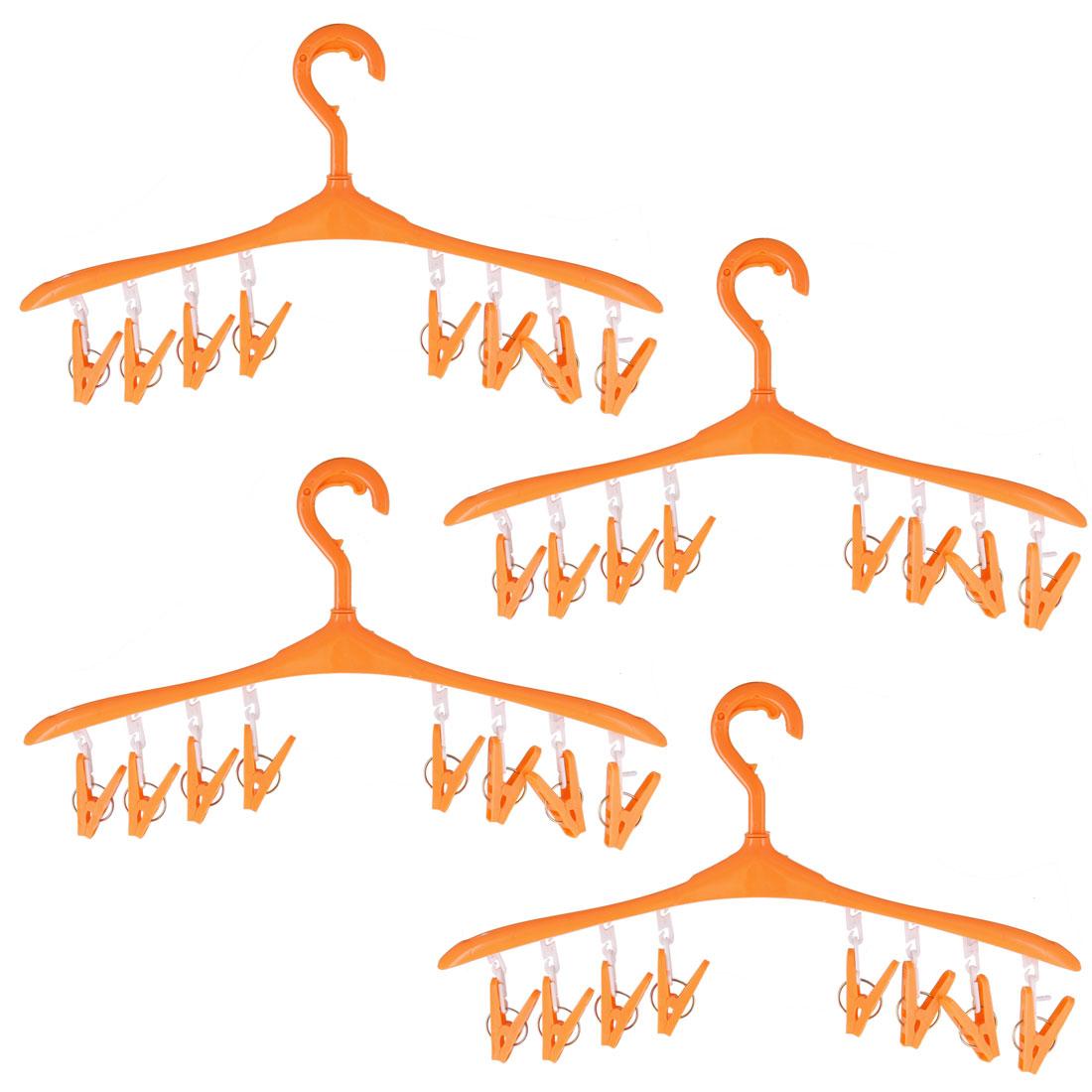 Plastic 8 Clips Nonslip Drying Rack Clothes Socks Pants Hanger Orange 4pcs