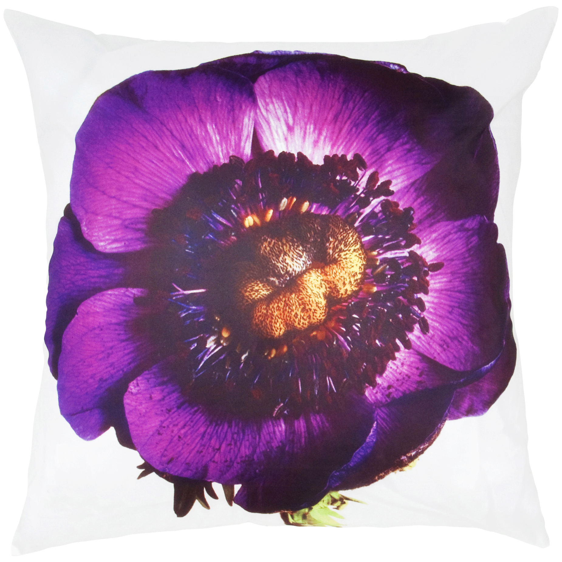 Room with a View White/ Purple Pansy Feather-filled Throw Pillow