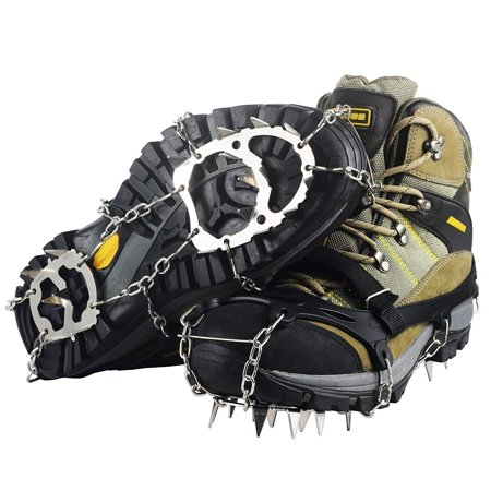 Unisex Ice Cleats Snow Spikes Crampons Anti Slip Shoes Grippers w/ 18 Teeth (Ice Shoes Grippers)