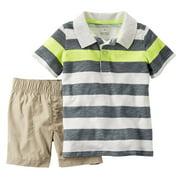 Carters Infant Boys 2-Piece Striped Polo T-Shirt & Khaki Short Set