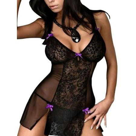 Women Lace Lingerie Dress Sleepwear Chemise String Baby Doll Nightwear - Baby Doll Lingure