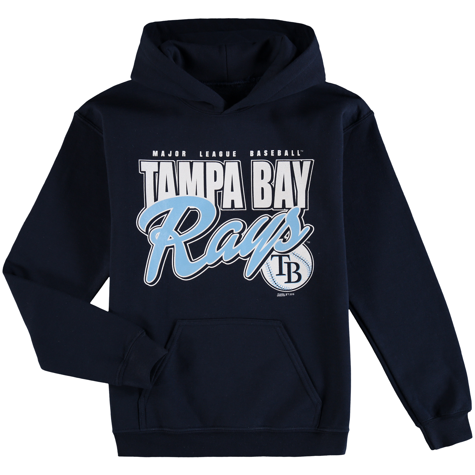 Tampa Bay Rays Stitches Youth Team Logo Pullover Hoodie - Navy