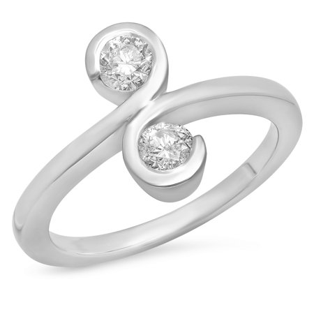 0.50 Carat (ctw) 14K White Gold Round White Diamond Ladies Two Stone Cocktail Right Hand Ring 1/2 CT