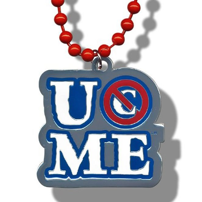 """WWE John Cena """"You Can't See Me!"""" Pendant W/ Blue Lettering & Red Beads"""
