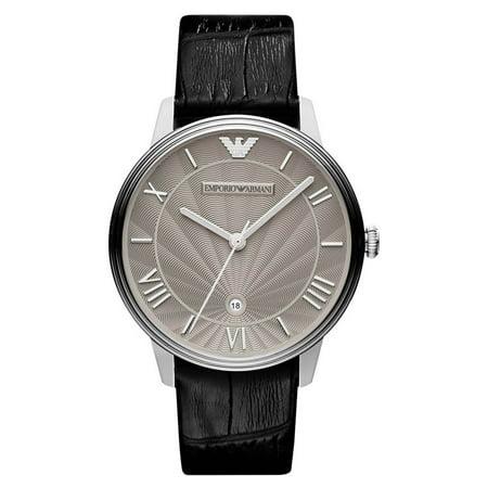 Emporio Armani AR1612 Classic Silver Dial Black Leather Strap Men