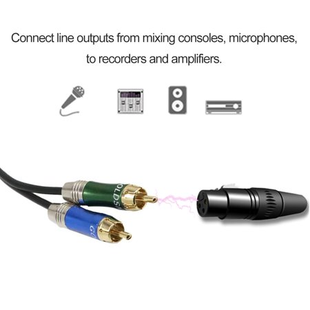 Dual XLR Female to Dual RCA Male Patch Cable Cord Audio Cable Black - image 5 de 7