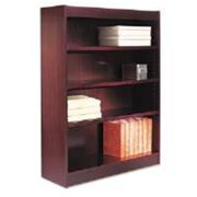 ALEBCS44836MY Square Corner Wood Veneer Bookcase, 4 Shelf Mahogany