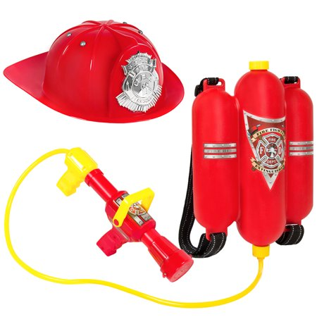 Best Choice Products Pretend Toy Firefighter Playset w/ Backpack Water Gun Blaster And