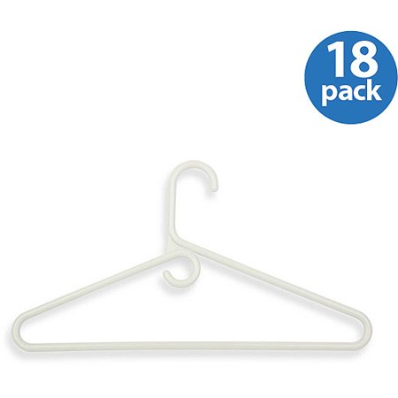 Honey Can Do Heavy-Duty Plastic Tubular Hangers, White (Pack of 18)