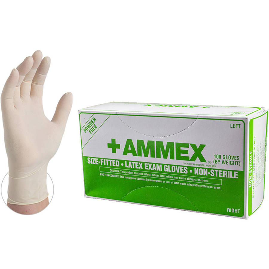AMMEX Hand-Specific Latex Powder-Free Smooth Exam Grade Disposable Gloves