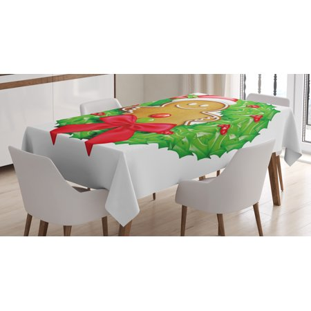 Gingerbread Kitchen (Gingerbread Man Tablecloth, Cartoon Christmas Wreath with Gingerbread Man Funny Happy Season, Rectangular Table Cover for Dining Room Kitchen, 52 X 70 Inches, Green Red Light Brown, by)