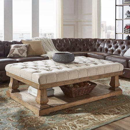 Weston Home Galvin Tufted Linen Cocktail Table, Multiple (Coffee Linen)