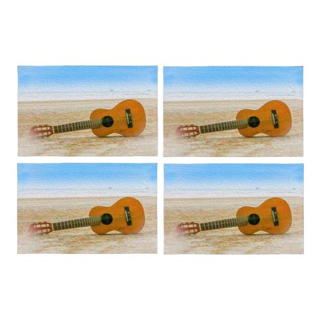 MKHERT Funny Guitar On The Beach Placemats Table Mats for Dining Room Kitchen Table Decoration 12x18 inch,Set of 4 (Guitar Table Decorations)