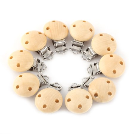 Pacifier Charm Jewelry - Yosoo 10pcs/lot Cute Round Wood Natural Baby Pacifier Clip Charm Infant Nipple Clasps 3 Holes,Pacifier Clip,Infant Nipple Clasps