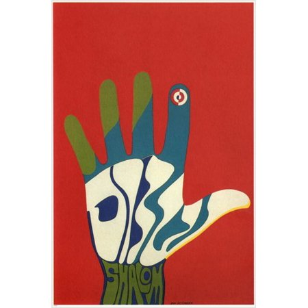 Shalom (Peace) Poster Israel 1965 24X36 Open Palm Classic 60'S Design