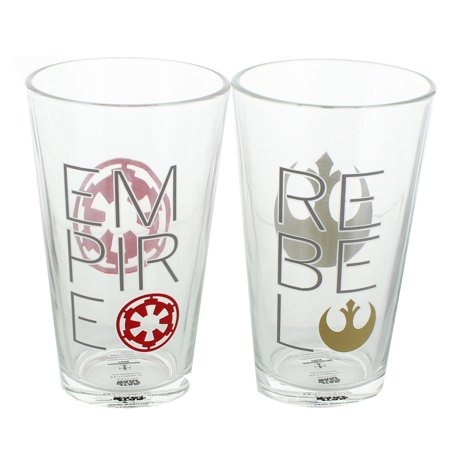 Star Wars Rebel & Empire Logos 16oz Pint Glass Set 2 - Star Glasses
