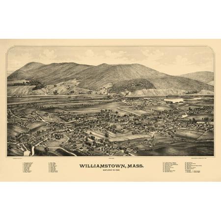 Vintage Map of Williamstown Massachusetts 1889 Berkshire County Canvas Art -  (24 x 36)