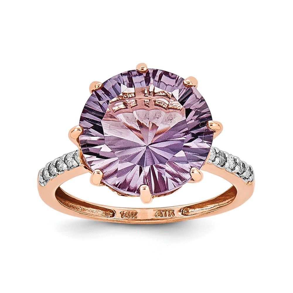 14K Rose Gold (0.08cttw) Rose Gold Pink Quartz and Diamond Ring Size-6 by