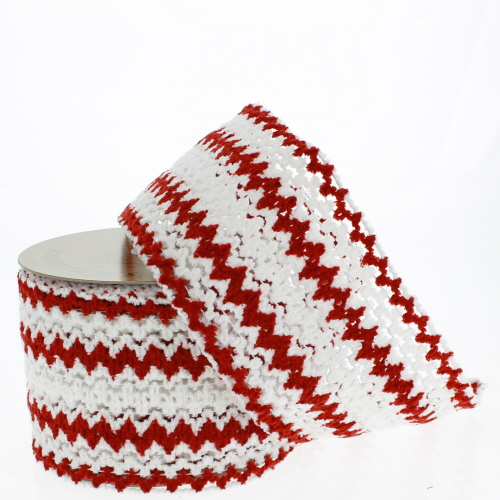 Fuzzy Red and White Zigzag