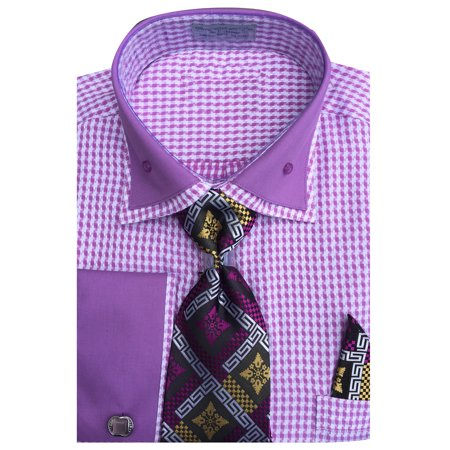 Men's Houndstooth Dress Shirt French Cuffs Tie Hanky Cufflinks